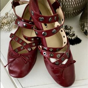 🐘 Zara Leather Wrap Wine Ballet Flats 7.5 38 🐘
